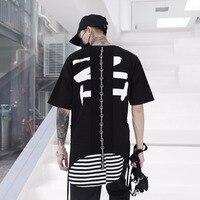 Hiphop Punk Summer Long T Shirt Men Irregular Short Sleeve Patchwork Loose Fit Black White Orange