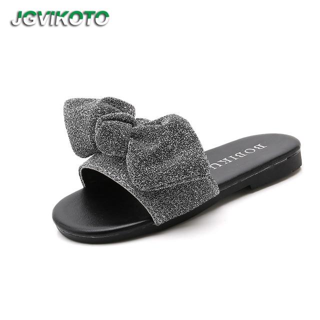 18af2339f6b2 JGVIKOTO Big Girl Sandals Slippers Glitter Bow-knot Sweet Slides For Kids  Teenagers Girls Beach Slippers Soft Anti-slip 26-39