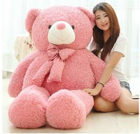 Große schöne rosa teddybär puppe candy farben teddybär mit flecken bogen plüschtier puppe geburtstagsgeschenk über 160 cm