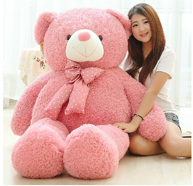 huge lovely pink teddy bear doll candy colours teddy bear with spots bow plush toy doll birthday gift about 160cm new cute plush brown teddy bear toy pink heart and bow bear doll gift about 70cm