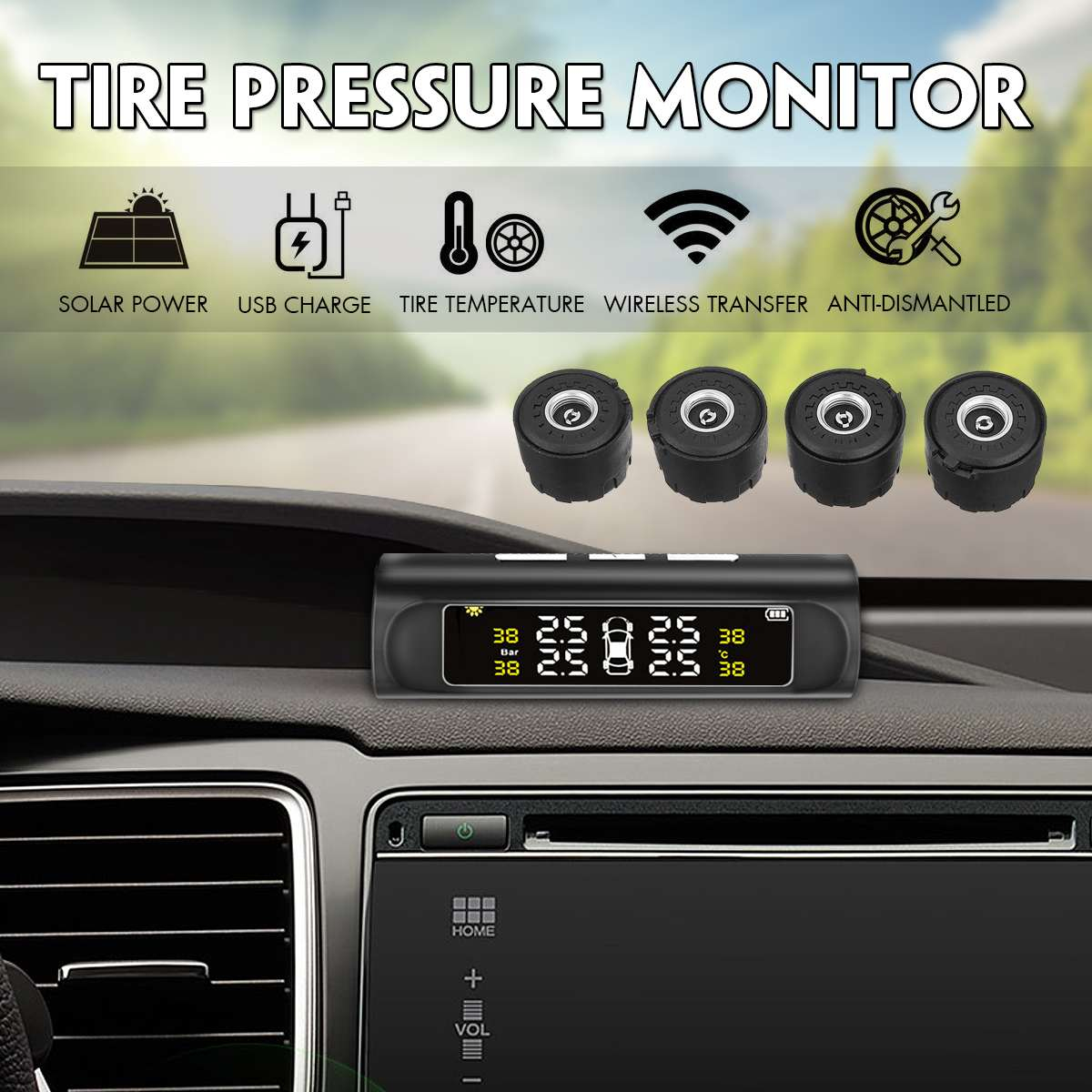 Car Solar Wireless TPMS Tyre Tire Pressure Monitor System LCD+4 External Car Sensor for Car Truck Waterproof IP67 Monitor