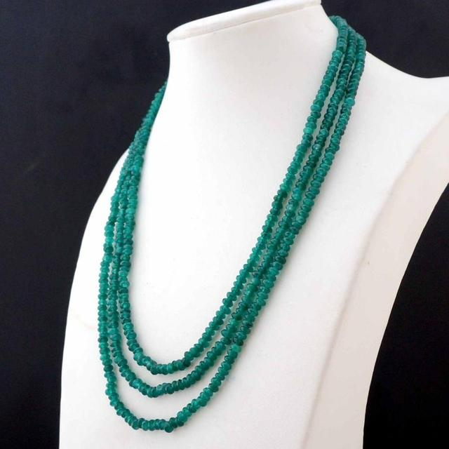 Beautiful NATURAL 3 Rows 2X4mm Faceted GREEN BEADS NECKLACE AAA+ WW