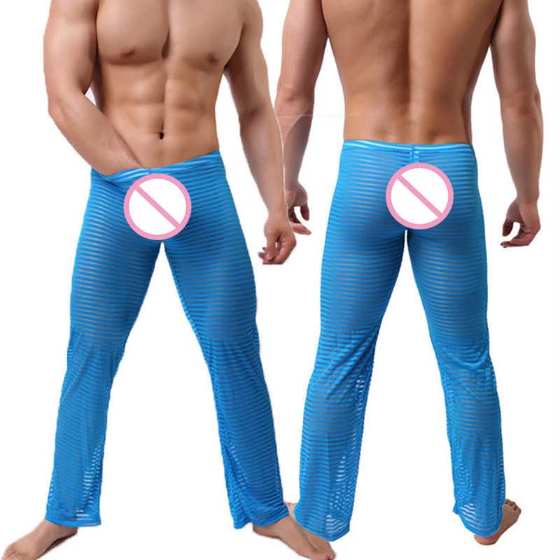 ropa deportiva de alto rendimiento varios diseños extremadamente único Sexy ver a través de pantalones Gay ropa de dormir hombre Gay divertido  larga a rayas pantalones de pijama dormir cómodo fondo