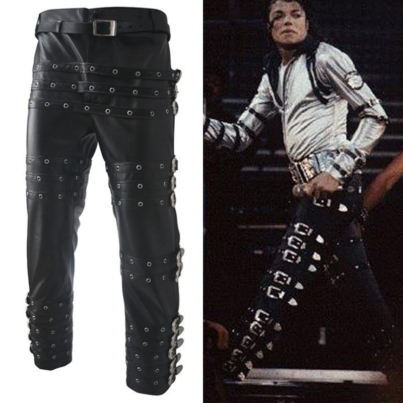 Retro MJ Michael Jackson Punk Rock BAD Concert Performance Imitate Leather Trousers Pants Chaparajos