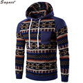 Modern Men Retro Long Sleeve Ethnic Style Printed Hoodie Cool Male Slim Patchwork Hooded Sweatshirt Autumn Winter Pullover Oct13