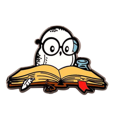 Reading is magical pin funny literary owl badge librarian students teacher bookworm gift