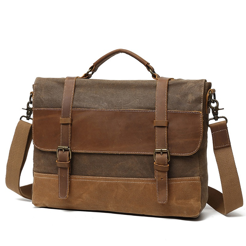 dea9a7bd681c YUPINXUAN Oil Wax Canvas Handbag Mens Waterproof Shoulder Bag Vintage Canvas  Leather Briefcases 14