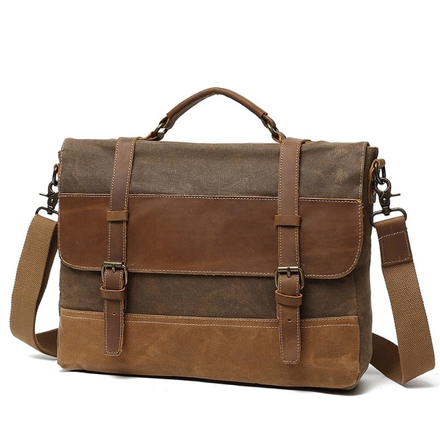 84396db7d309 US $79.85 |YUPINXUAN Oil Wax Canvas Handbag Mens Waterproof Shoulder Bag  Vintage Canvas Leather Briefcases 14