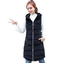 Brieuces  Winter Vest Women 2018 New Fashion Velvet Waistcoat Slim Hooded Cotton-padded Warm Long Jacket Female