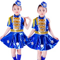Free Shipping Kids Chorus Clothes Children Girls Stage Ballroom Jazz Hip Hop Dance Costume Navy Military Wear Blue Army Uniforms