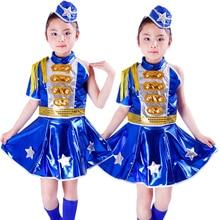 Free Shipping Kids Chorus Clothes Children Girls Stage Ballroom Jazz Hip Hop Dance Costume Navy Military Wear Blue Army Uniforms