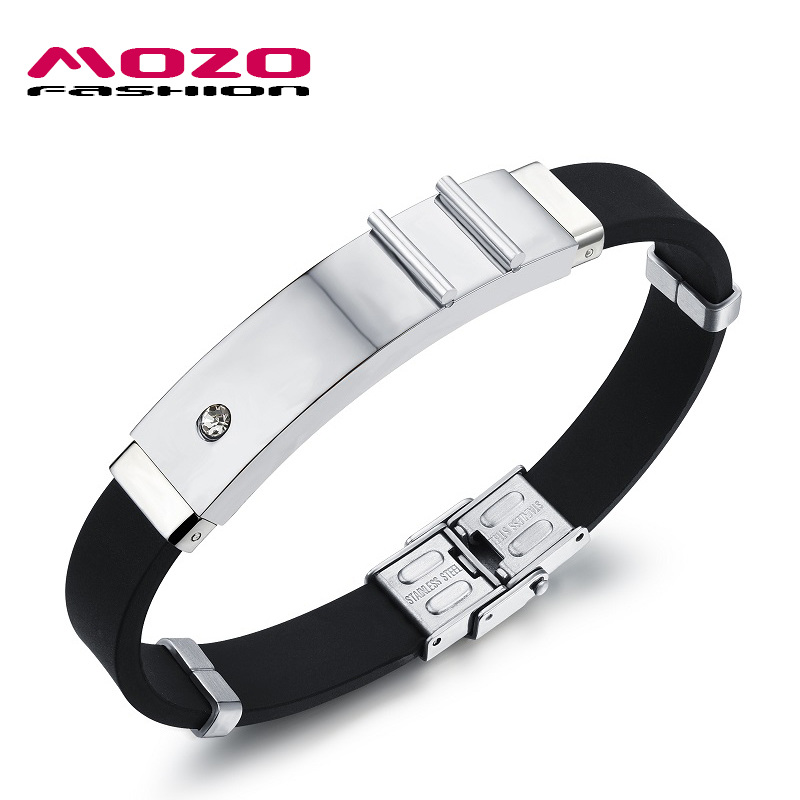 ᑎ Mozo Fashion Trendy Mens Jewelry Simple Silicone Rubber