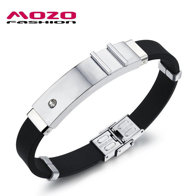 e264e5fd2106 Mozo fashion moda hombre joyería simple pulseras de goma de silicona  plata oro de acero inoxidable con zirconia pulseras MPH997