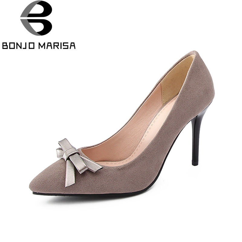 BONJOMARISA 2018 Spring Summer Brand Sexy Shallow Women Pumps Big Size 32-43 Pointed Toe High Thin Heels Party Shoes Woman moonmeek new arrive spring summer female pumps high heels pointed toe thin heel shallow party wedding flock pumps women shoes