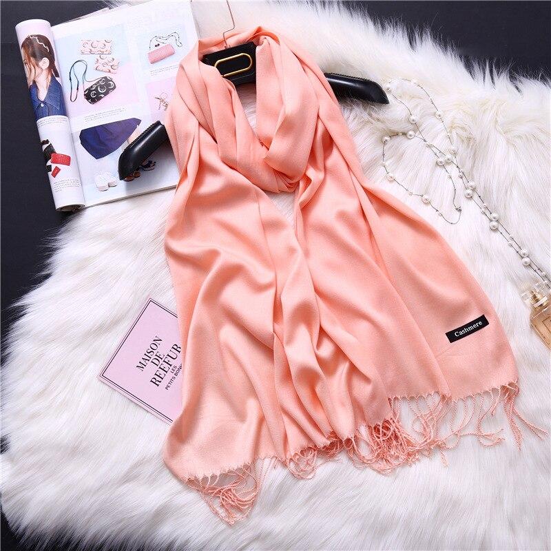 2019 Элитный бренд soild кашемировый шарф для женщин Мода шарфы осень-зима леди теплые пашмины длинный обертывания подарки наличии