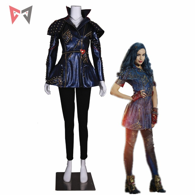 US $164 9 |MMGG Descendants 2 cosplay Mal Cosplay costume Leather jacket  punk style Custom Made size party top-in Movie & TV costumes from Novelty &