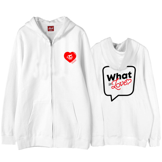 Kpop twice what is love concert same printing fleece/thin sweatshirt for once supportive unisex zipper hoodie jackets