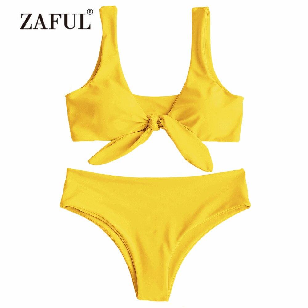 LANGSTAR Bikini Padded Front Knot Bikini Set Women Straps Solid Swimsuit Sexy Women Yellow Swimwear Pink Bathing Suit Beachwear zipper front plain bikini set