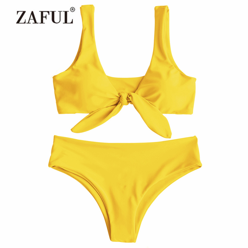ZAFUL Bikini Padded Front Knot Bikini Set Women Straps Solid Swimsuit Sexy Women's Yellow Swimwear Pink Swimming Suit Beachwear цена
