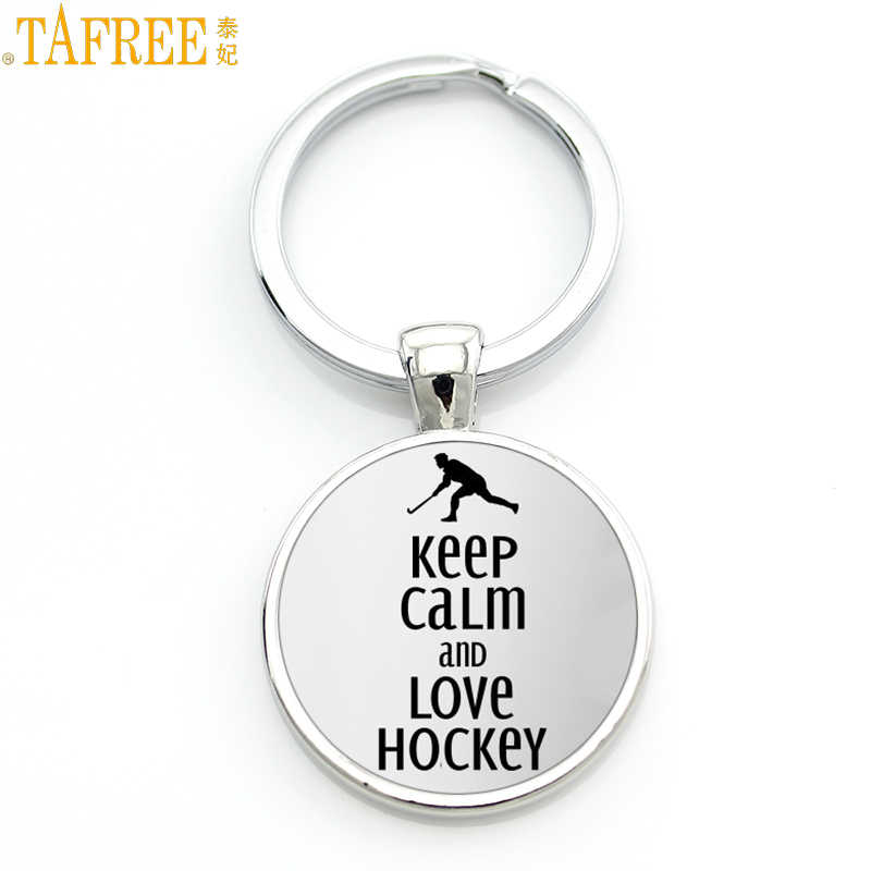 TAFREE Brand Keep Calm and Love Hocky keychain casual sports ice hockey key chain ring men women fashion keyring jewelry SP481