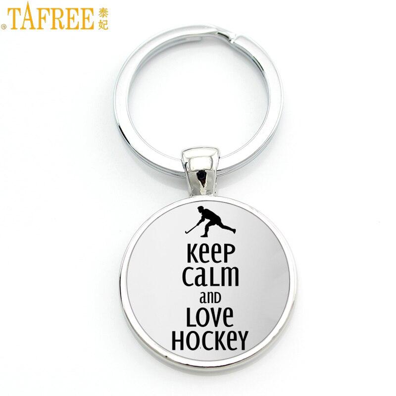 TAFREE Brand Keep Calm And Love Hocky Keychain Casual Sports Ice Hockey Key Chain Ring Men Women Fashion Keyring Jewelry SP481