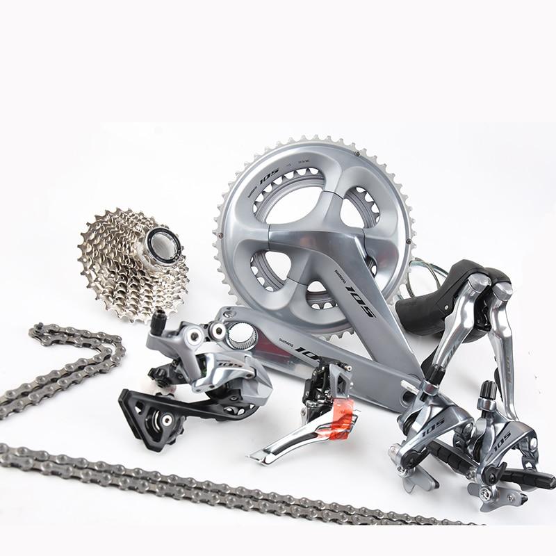 Nova Prata Bicicleta de Estrada Groupset Shimano 105 R7000 2x22 11 s s Velocidade 50x34 53 x interruptor 39 170 Shifter/Crankset/Desviador/cassete