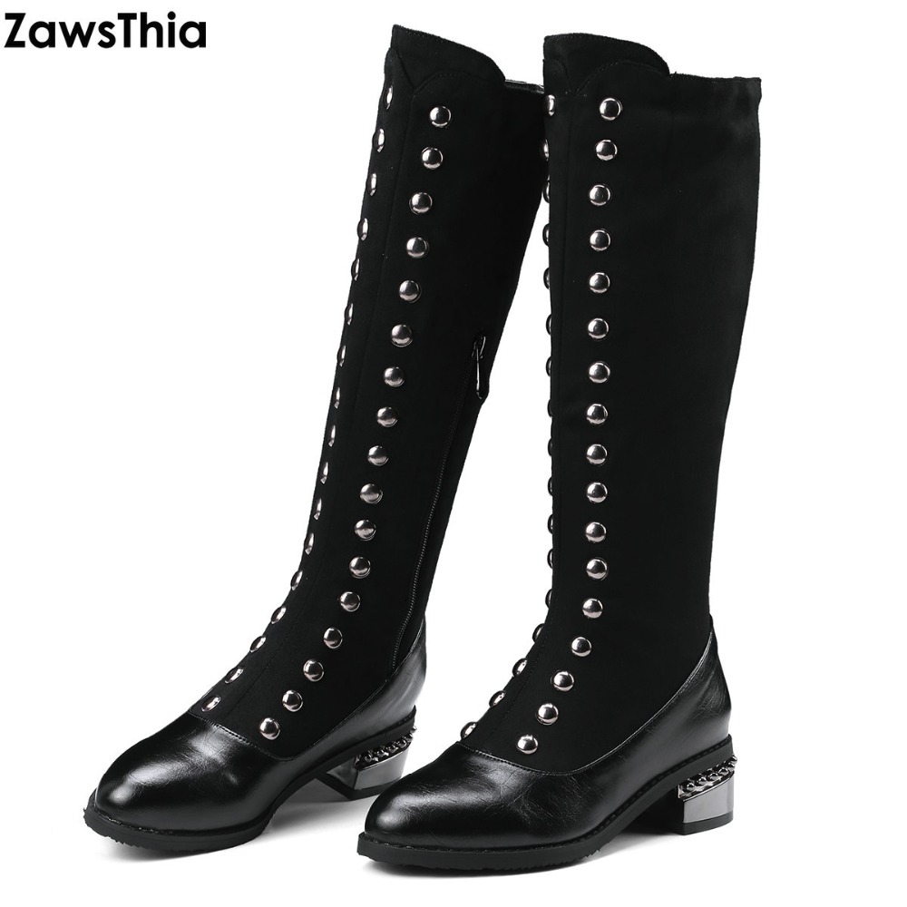 ZawsThia women riding equestrian boots with rivets chunky low heel snow boots winter casual woman shoes plus size mid calf boots laconic women s mid calf boots with lace up and chunky heel design