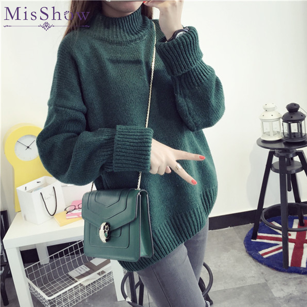 Special Sale Women Turtleneck Winter Sweater 2018 Long Sleeve Knitted Warm  Loose plus size Sweaters Pullovers Female Jumper Tops f31902e8c