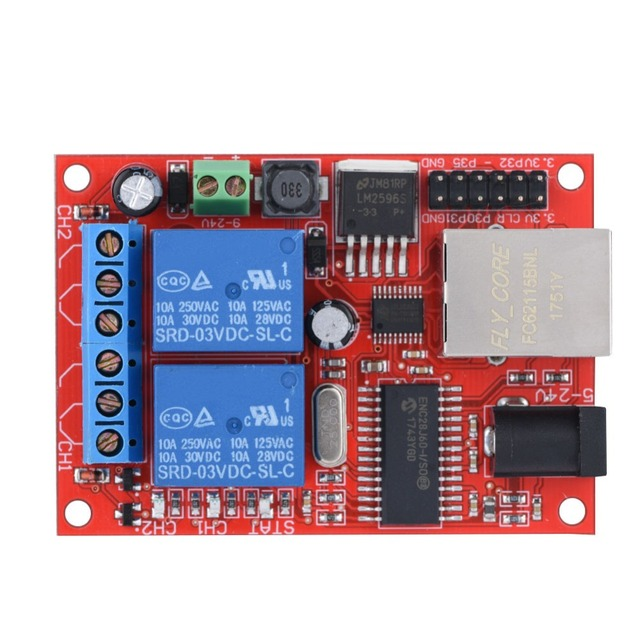 US $34 12 |2 Way LAN Ethernet Relay Board Delay Switch TCP/UDP Controller  Module WEB Server-in Networking Tools from Computer & Office on