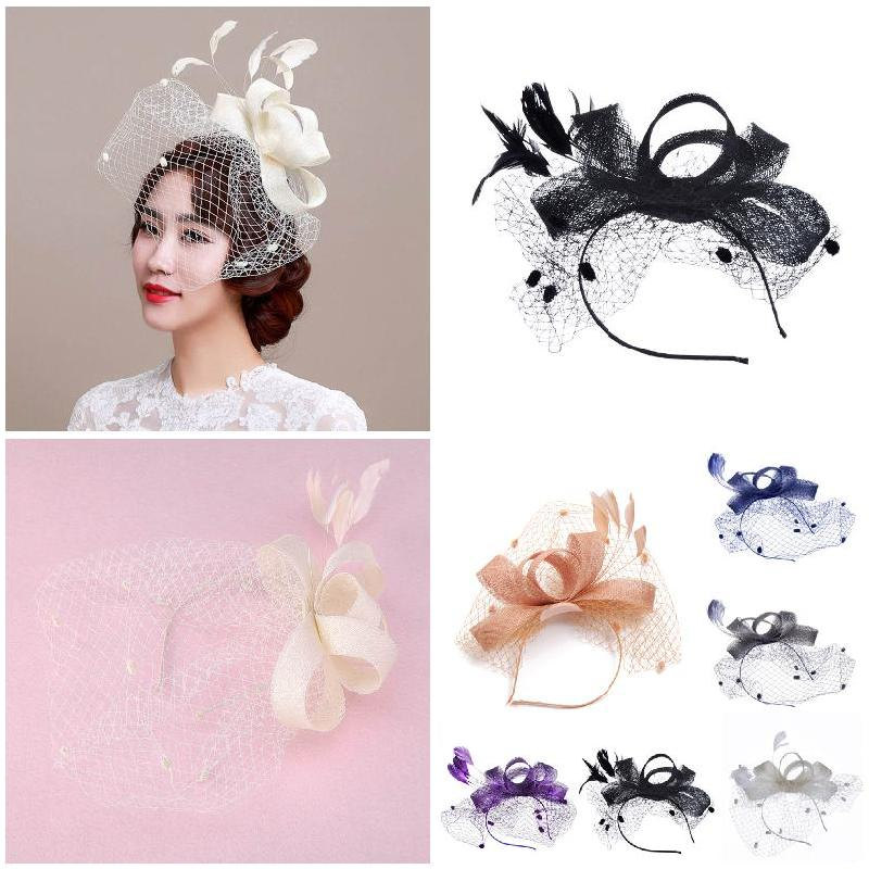 Fashion Women Fascinator Cambric Headdress Vintage Lady Cocktail Hat French Veiling Wedding Party Bridal Hair Accessorie H9