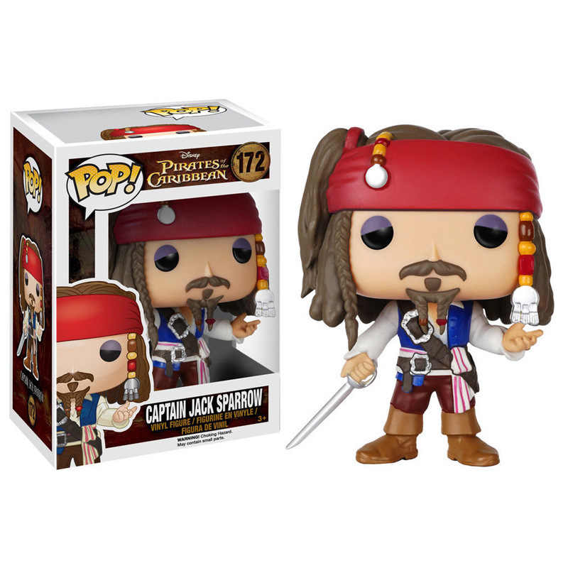 FUNKO POP 10 cm Piratas do Caribe Jack Sparrow com Arma vinil PVC Action Figure Collectible Modelo Toy presente para as crianças