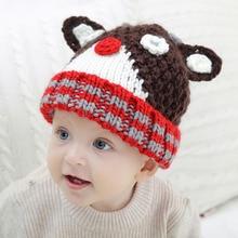 6M-8Years мальчиков зима теплая шапки дети животных олень шапки детские ручной вязаные шапки шапочки xmas партия мило caps