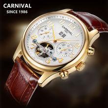 купить 2019Switzerland Carnival tourbillon Automatic Mechanical watch men full steel waterproof Men Watches Clock reloj erkek kol saati дешево