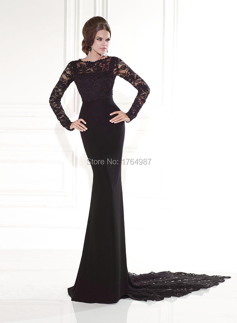 d9420fc5fdb O-Neck Long Sleeve Dresses For Wedding Guest Knitted With Lace Trailing  Black Elegant Mermaid Mother of The Bride Dress 2015