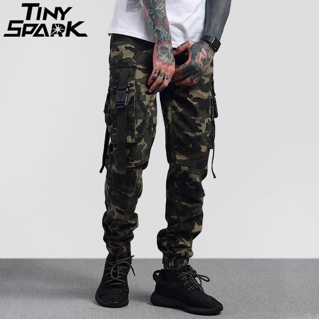 5dfa6f2a08c3e 2018 Hip Hop Cargo Pant Streetwear Mens Army Green Camouflage Pant Big Side  Pockets Casual Harem Pant Military Tatical Trousers