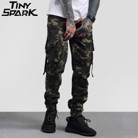 2018 Hip Hop Cargo Pant Streetwear Mens Army Green Camouflage Pant Big Side Pockets Casual Harem Pant Military Tatical Trousers