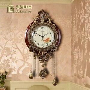 Креативные настенные часы для гостиной, домашние европейские классические новые китайские настенные часы с твердой древесиной, бесшумные ...