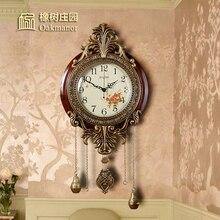 4a4a738c0 الإبداعية غرفة المعيشة ساعة حائط المنزل جو الأوروبية الكلاسيكية جديد  الصينية خشب متين كتم بندول الساعة