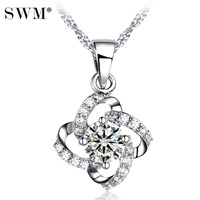 Women Necklace Silver Chain 925 Necklaces Crystal Chain Lucky Four Leaf Clover Pendant Flower Four Leaf Clover Jewelry BBF Girl