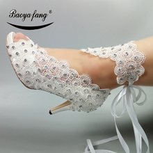 New Lace-Up Bride Wedding shoes woman fashion shoes crystal ankle strap party dress shoes Open toe high heels Pumps female