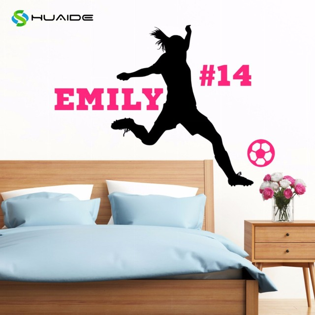 personalized soccer player wall decal custom name & number girls