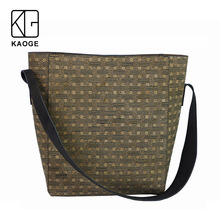 KAOGE women Luxury Vegan cork  large bag Handmade handbag plaid fashion wood female  wide shoulder strap bag 2019 цена