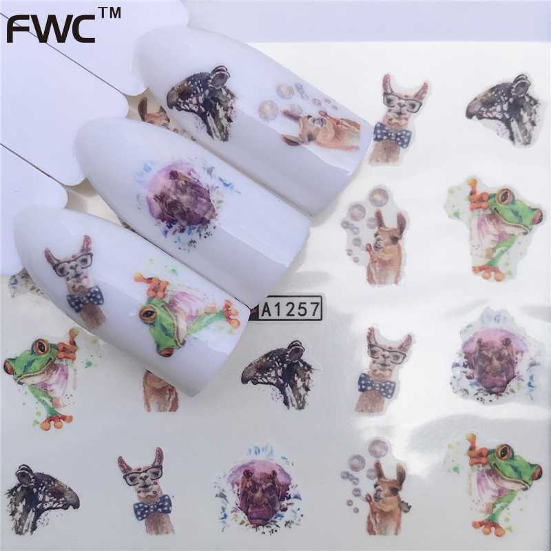 ZKO 1 PC 2019 New Designs Flower Glitter Nail Sticker Water Transfer Animal Styles/Christmas Series Nail Art Decals