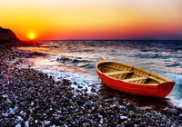100 Hand Painted The Sunset Boat Oil Painting Picture HD Printed On Canvas Wall Decoration
