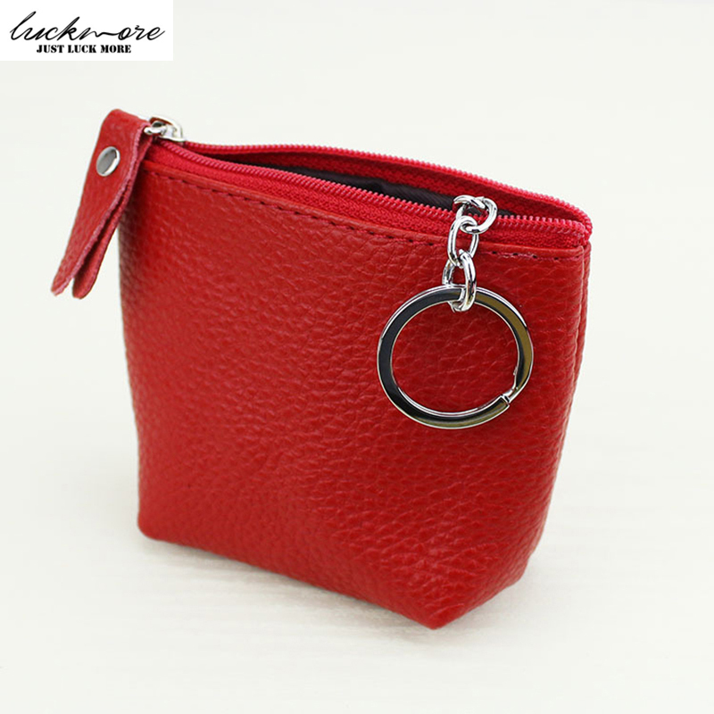 Genuine Leather Mini Women Zipper Coin Purse Bag with Keychain Woman Cute Pouch Change Wallets For Girls 2017 kinder portemonnee new cute hello kitty handbag pink red girls purse cartoon cat coin bag ladies keychain wallets zipper key holder cash case
