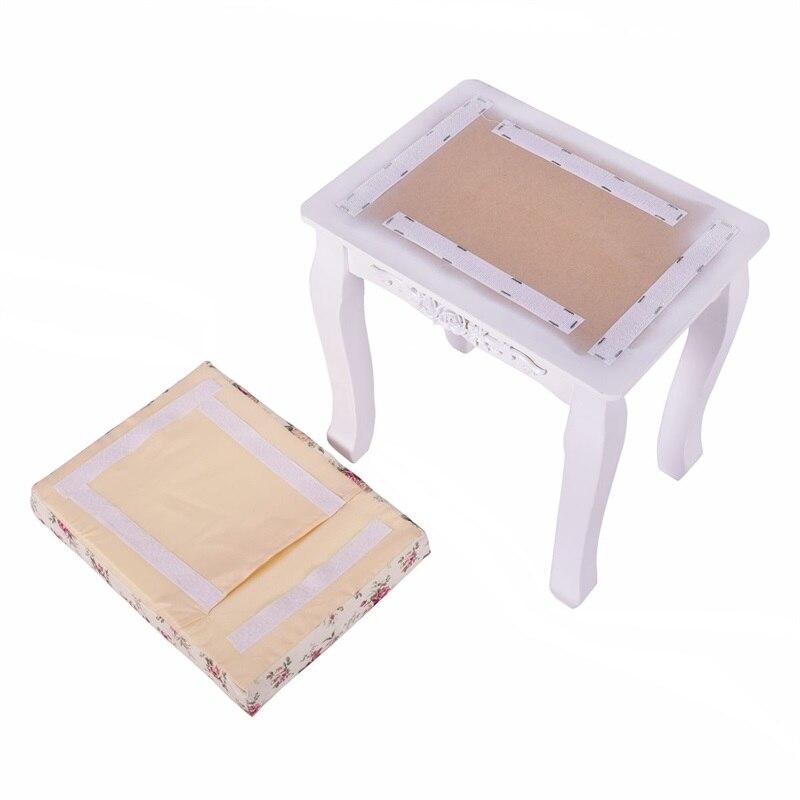 Blanc rembourré vanité tabouret Piano siège pin bois MDF panneau fleur coussin campagne en bois tabouret HB84672 - 4