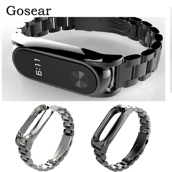 Gosear Stainless Steel Watch Wrist Banda Band Strap Replacement for Xiaomi Xiomi Xiao Mi Band Miband 2 Band2 Watchband Wristband