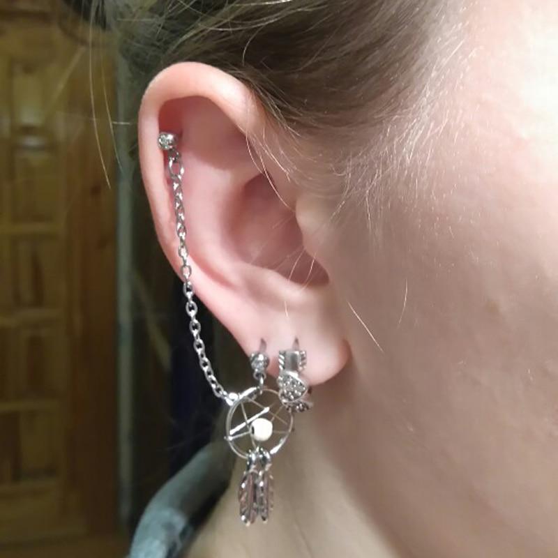 Dream Catcher Helix Earring BOG Lot 40 Pieces Dream Catcher Ear Piercing Cartilage Stud Earring 4