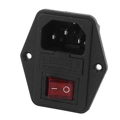 AC 250V 10A 4P Red LED Rocker Switch Fuse Holder Inlet Power Socket Screw Mount цена 2017