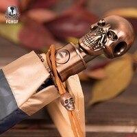FGHGF Black 3 Automatic Creative Folding Umbrella Men Rain Women Gold UV Sun Skull Handle Men